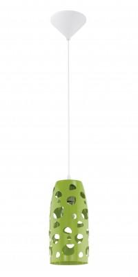Eglo MANZANA 31638 Светильник подвеснойОдиночные<br><br><br>Тип товара: Светильник подвесной<br>Скидка, %: 41<br>Тип цоколя: E27<br>MAX мощность ламп, Вт: 2<br>Диаметр, мм мм: 135<br>Размеры основания, мм: 0<br>Высота, мм: 1100<br>Оттенок (цвет): зеленый<br>Цвет арматуры: белый<br>Общая мощность, Вт: 1X60W