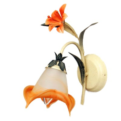 Светильник настенный бра Mw light 319022001 ЛетоФлористика<br>Описание модели 319022001: Нежный флористический декор светильника из коллекции «Лето» наполнит обстановку комнаты романтикой и летним теплом. Металлическое основание эффектно смотрится в сочетании с растительным декором, окрашенным вручную. Стеклянный плафон стилизован под бутон красивого цветка с плавным переходом от белого цвета к оранжево-розовому оттенку. Оригинальные формы и изящные линии привнесут в обстановку спальни или гостиной комнаты спокойствие и гармонию.<br><br>S освещ. до, м2: 3<br>Тип лампы: накаливания / энергосбережения / LED-светодиодная<br>Тип цоколя: E14<br>Количество ламп: 1<br>Ширина, мм: 260<br>MAX мощность ламп, Вт: 60<br>Длина, мм: 160<br>Высота, мм: 340<br>Поверхность арматуры: матовый<br>Цвет арматуры: бежевый<br>Общая мощность, Вт: 60