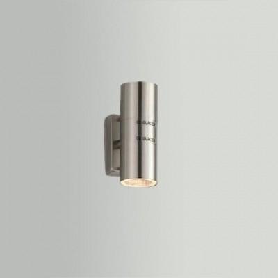 Светильник настенный Globo 3201-2 StyleХай-тек<br><br><br>S освещ. до, м2: 4<br>Тип товара: Светильник настенный уличный<br>Скидка, %: 16<br>Тип лампы: галогенная / LED-светодиодная<br>Тип цоколя: GU10<br>Количество ламп: 2<br>Ширина, мм: 110<br>MAX мощность ламп, Вт: 35<br>Диаметр, мм мм: 60<br>Высота, мм: 165<br>Цвет арматуры: серебристый
