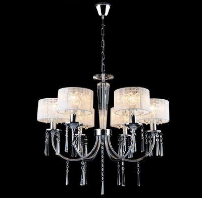 Люстра подвесная Евросвет 3201/6Подвесные<br>Подвесная люстра с белыми абажурами<br><br>Установка на натяжной потолок: Да<br>S освещ. до, м2: 20<br>Крепление: Крюк<br>Тип лампы: накаливания / энергосбережения / LED-светодиодная<br>Тип цоколя: E14<br>Количество ламп: 6<br>MAX мощность ламп, Вт: 60<br>Диаметр, мм мм: 600<br>Высота, мм: 600 - 1000<br>Цвет арматуры: серебристый