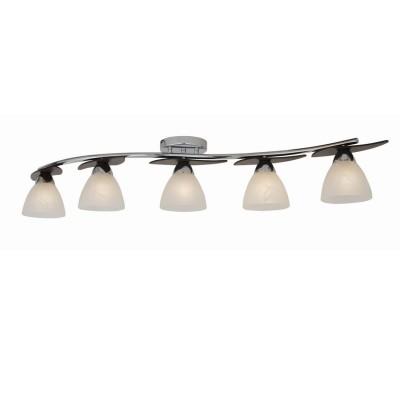 Люстра Lamplandia 3213-5 VarnaПотолочные<br>Потолочная люстра с металлическим основанием цвета хром, с деревянными вставками цвета венге<br><br>Установка на натяжной потолок: Ограничено<br>S освещ. до, м2: 20<br>Крепление: Планка<br>Тип товара: Люстра<br>Тип лампы: накаливания / энергосбережения / LED-светодиодная<br>Тип цоколя: E27<br>Количество ламп: 5<br>Ширина, мм: 150<br>MAX мощность ламп, Вт: 40<br>Длина, мм: 1150<br>Высота, мм: 200<br>Цвет арматуры: серый