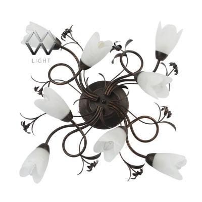Люстра Mw light 323013708 АидаПотолочные<br>Описание модели 323013708: Игривый дизайн светильника Аида живо украсит домашний интерьер и осветит пространство большой площади. Стеклянные плафоны с молочными разводами из алебастра выполнены в виде раскрывающихся бутонов! Патинированное металлическое основание кофейного оттенка вьётся плавными линиями, на которых разместились декоративные элементы из тонко проработанного металла. Благодаря потолочной форме конструкции и светлому оттенку плафонов, светильник по достоинству оценят самые требовательные покупатели.<br><br>Установка на натяжной потолок: Да<br>S освещ. до, м2: 16<br>Крепление: Планка<br>Тип лампы: накаливания / энергосбережения / LED-светодиодная<br>Тип цоколя: E14<br>Количество ламп: 8<br>MAX мощность ламп, Вт: 40<br>Диаметр, мм мм: 770<br>Высота, мм: 240<br>Цвет арматуры: коричневый<br>Общая мощность, Вт: 320