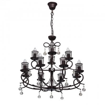 Mw light 323016512 СветильникПодвесные<br><br><br>Установка на натяжной потолок: Да<br>S освещ. до, м2: 36<br>Тип лампы: Накаливания / энергосбережения / светодиодная<br>Тип цоколя: E14<br>Количество ламп: 12<br>MAX мощность ламп, Вт: 60<br>Диаметр, мм мм: 680<br>Высота, мм: 780 - 1120<br>Цвет арматуры: коричневый