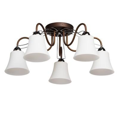 Люстра Mw light 324013105 АльфаПотолочные<br>Описание модели 324013105: Идиллия комфорта и функциональности в потолочной модели светильника Ультра спроектирована в соответствии с пожеланиями покупателей, ценящих в декоративном светильнике функциональность и универсальный дизайн. Данный светильник подойдёт для освещения разнообразных жилых помещений, коридоров, кухонь. Металлическое основание имеет хромированные поверхности и поверхности, окрашенные в цвет венге, выигрышно сочетающихся с белоснежными стеклянными плафонами. Потолочная форма и современный дизайн - вот залог успеха продаж данной коллекции!<br><br>Установка на натяжной потолок: Да<br>S освещ. до, м2: 15<br>Крепление: Планка<br>Тип лампы: накаливания / энергосбережения / LED-светодиодная<br>Тип цоколя: E14<br>Цвет арматуры: коричневый<br>Количество ламп: 5<br>Диаметр, мм мм: 610<br>Высота, мм: 250<br>Поверхность арматуры: матовый<br>MAX мощность ламп, Вт: 60<br>Общая мощность, Вт: 300