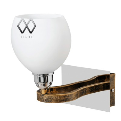 Светильник настенный бра Mw light 324020701 АльфаМодерн<br>Металлическое основание с эффектом старения и декоративный элемент цвета хрома, плафон из стекла.<br><br>S освещ. до, м2: 3<br>Тип лампы: накаливания / энергосбережения / LED-светодиодная<br>Тип цоколя: E14<br>Количество ламп: 1<br>Ширина, мм: 200<br>MAX мощность ламп, Вт: 40<br>Длина, мм: 160<br>Высота, мм: 230<br>Цвет арматуры: коричневый, хром<br>Общая мощность, Вт: 40