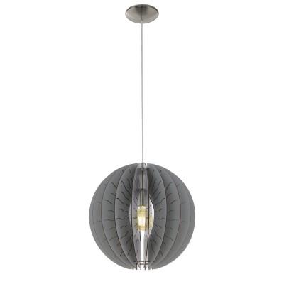 32822 Eglo - Подвес FABESSAодиночные подвесные светильники<br><br><br>Установка на натяжной потолок: Да<br>S освещ. до, м2: 3<br>Крепление: Планка<br>Тип лампы: Накаливания / энергосбережения / светодиодная<br>Тип цоколя: E27<br>Цвет арматуры: серебристый<br>Количество ламп: 1<br>Диаметр, мм мм: 400<br>Высота полная, мм: 1100<br>Высота, мм: 400<br>Поверхность арматуры: матовая<br>Оттенок (цвет): никель<br>MAX мощность ламп, Вт: 60