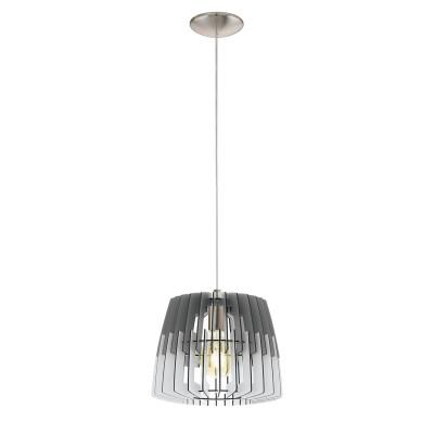 32824 Eglo - Подвес ARTANAодиночные подвесные светильники<br><br><br>Установка на натяжной потолок: Да<br>S освещ. до, м2: 3<br>Крепление: Планка<br>Тип лампы: Накаливания / энергосбережения / светодиодная<br>Тип цоколя: E27<br>Цвет арматуры: серебристый<br>Количество ламп: 1<br>Диаметр, мм мм: 300<br>Высота полная, мм: 1100<br>Высота, мм: 400<br>Поверхность арматуры: матовая<br>Оттенок (цвет): никель<br>MAX мощность ламп, Вт: 60