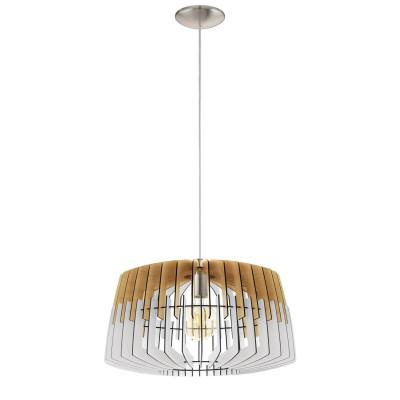 32827 Eglo - Подвес ARTANAодиночные подвесные светильники<br><br><br>Установка на натяжной потолок: Да<br>S освещ. до, м2: 3<br>Крепление: Планка<br>Тип лампы: Накаливания / энергосбережения / светодиодная<br>Тип цоколя: E27<br>Цвет арматуры: серебристый<br>Количество ламп: 1<br>Диаметр, мм мм: 480<br>Высота полная, мм: 1100<br>Высота, мм: 400<br>Поверхность арматуры: матовая<br>Оттенок (цвет): никель<br>MAX мощность ламп, Вт: 60