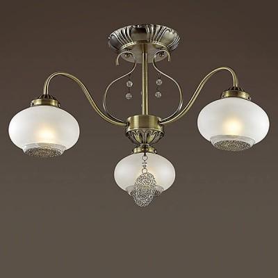 Светильник Lumion 3287/3Cлюстры потолочные классические<br>Elmina - функциональная, элегантная серия в бронзе. Крупный стеклянный сферический плафон из белого матового стекла, декорированный ажурной металлической плашкой дарит мягкий, рассеянный свет.<br><br>Установка на натяжной потолок: Да<br>S освещ. до, м2: 9<br>Крепление: Потолочное<br>Тип лампы: Накаливания / энергосбережения / светодиодная<br>Тип цоколя: E14<br>Количество ламп: 3<br>Диаметр, мм мм: 580<br>Высота, мм: 340<br>MAX мощность ламп, Вт: 60
