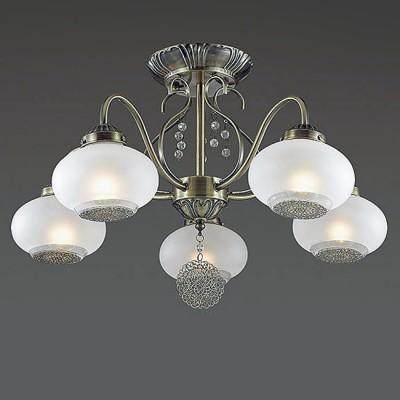 Светильник Lumion 3287/5CПотолочные<br>Elmina - функциональная, элегантная серия в бронзе. Крупный стеклянный сферический плафон из белого матового стекла, декорированный ажурной металлической плашкой дарит мягкий, рассеянный свет.<br><br>Установка на натяжной потолок: Да<br>S освещ. до, м2: 15<br>Крепление: Потолочное<br>Тип лампы: Накаливания / энергосбережения / светодиодная<br>Тип цоколя: E14<br>Количество ламп: 5<br>Диаметр, мм мм: 580<br>Высота, мм: 340<br>MAX мощность ламп, Вт: 60