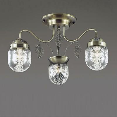 Светильник Lumion 3288/3CПотолочные<br>Серия AFEMI примечательна оригинальной формой стеклянного плафона с растительным орнаментом. Светильник декорирован ажурными листками из металла, на верхних чашах светильника нанесен рельефный декор.<br><br>Установка на натяжной потолок: Да<br>S освещ. до, м2: 9<br>Крепление: Потолочное<br>Тип лампы: Накаливания / энергосбережения / светодиодная<br>Тип цоколя: E14<br>Количество ламп: 3<br>MAX мощность ламп, Вт: 60<br>Диаметр, мм мм: 520<br>Высота, мм: 330