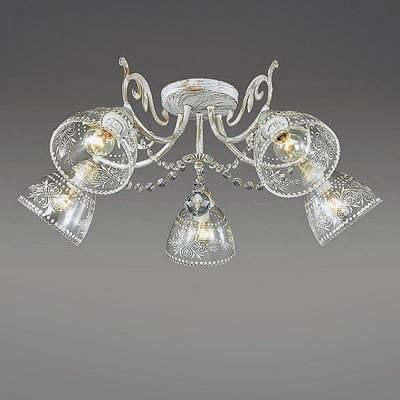 Светильник Lumion 3311/5CПотолочные<br>Центром притяжения в серии Nicuola являются стеклянные плафоны с ажурным орнаментом, выполненным в белом цвете. Они идеально сочетаются с основанием в белом цвете с золотой патиной и хрустальными подвесками.<br><br>Установка на натяжной потолок: Да<br>S освещ. до, м2: 10<br>Крепление: Потолочное<br>Тип лампы: Накаливания / энергосбережения / светодиодная<br>Тип цоколя: E14<br>Количество ламп: 5<br>MAX мощность ламп, Вт: 40<br>Диаметр, мм мм: 610<br>Высота, мм: 235
