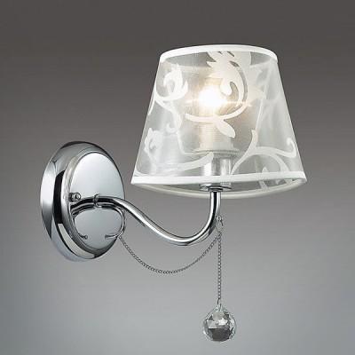 Светильник Lumion 3312/1WСовременные<br>Серия Henritta оригинально выделяется своим изящным хромированным основанием и уникальными ассиметричными  полупрозрачными абажурами с утонченным орнаментом.<br><br>Крепление: Настенное<br>Тип лампы: Накаливания / энергосбережения / светодиодная<br>Тип цоколя: E14<br>Количество ламп: 1<br>Ширина, мм: 160<br>MAX мощность ламп, Вт: 40<br>Расстояние от стены, мм: 245<br>Высота, мм: 260