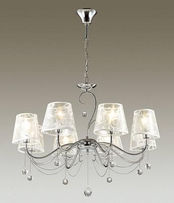 Светильник Lumion 3312/8Подвесные<br><br><br>S освещ. до, м2: 16<br>Крепление: Потолочное<br>Тип лампы: Накаливания / энергосбережения / светодиодная<br>Тип цоколя: E14<br>Количество ламп: 8<br>MAX мощность ламп, Вт: 40<br>Диаметр, мм мм: 770<br>Высота, мм: 535 - 1005<br>Цвет арматуры: серебристый