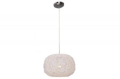 Светильник Lamplandia 3368 Ares whiteОдиночные<br>Подвес из белого акрила в этническом стиле. Подойдет к современному интерьеру, для кухни и  загородных помещений.<br><br>Крепление: потолочный<br>Тип цоколя: E27<br>Количество ламп: 1<br>MAX мощность ламп, Вт: 60<br>Цвет арматуры: серый