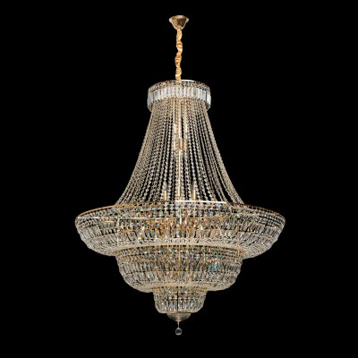 Люстра Chiaro 340011536 ДианаПодвесные<br>Описание модели 340011536: Роскошные переливы, помпезный, торжественный стиль -  люстра из коллекции «Диана» - настоящее произведение искусства. Металлическое основание цвета французского золота в сочетании с декоративными элементами из высококачественного хрусталя различных видов огранки создают ощущение, что перед нами драгоценность, воплощение которой требует поистине филигранной работы. Люстра театрального типа для помещений с высокими потолками, состоит из нескольких ярусов, что придает неповторимое и торжественное величие, такой предмет интерьера достоин царских покоев. Множество мерцающих капель хрусталя создают великолепную, многогранную, непередаваемую игру света. Снизу люстра декорирована хрустальной чашей. Хрусталь скреплен в хрустальные нити с помощью папильонов в форме маленьких бабочек. Если вы ценитель эксклюзивной роскоши, лучшего варианта, чтобы подчеркнуть свой безупречный вкус, не найти. Площадь освещения порядка 72 кв.м.<br><br>Установка на натяжной потолок: Да<br>S освещ. до, м2: 72<br>Крепление: Крюк<br>Тип лампы: накаливания / энергосберегающая / светодиодная<br>Тип цоколя: E14<br>Цвет арматуры: золотой<br>Количество ламп: 36<br>Диаметр, мм мм: 1300<br>Длина цепи/провода, мм: 500<br>Высота, мм: 2300<br>Поверхность арматуры: глянцевый<br>MAX мощность ламп, Вт: 40<br>Общая мощность, Вт: 1440