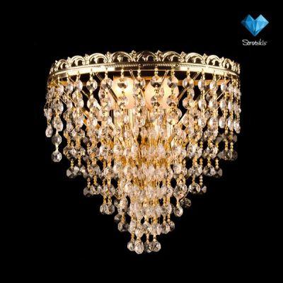 Светильник бра Евросвет 3402/2 золотоХрустальные<br><br><br>Тип лампы: накаливания / энергосбережения / LED-светодиодная<br>Тип цоколя: E27<br>Количество ламп: 2/2<br>Ширина, мм: 150<br>MAX мощность ламп, Вт: 60<br>Длина, мм: 250<br>Высота, мм: 250<br>Цвет арматуры: золотой
