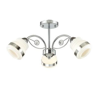 Светильник Lumion 3406/3Cсовременные потолочные люстры модерн<br>Серия Siserra универсальна с точки зрения использования в различных стилях. Выполнена в хроме с оригинальными  матовыми белыми плафонами.<br><br>Установка на натяжной потолок: Да<br>S освещ. до, м2: 6<br>Крепление: Потолочное<br>Тип лампы: Накаливания / энергосбережения / светодиодная<br>Тип цоколя: E27<br>Количество ламп: 3<br>Диаметр, мм мм: 558<br>Высота, мм: 250<br>MAX мощность ламп, Вт: 40
