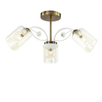 Светильник Lumion 3407/3CПотолочные<br><br><br>S освещ. до, м2: 6<br>Крепление: Потолочное<br>Тип лампы: Накаливания / энергосбережения / светодиодная<br>Тип цоколя: E14<br>Количество ламп: 3<br>MAX мощность ламп, Вт: 40<br>Диаметр, мм мм: 580<br>Высота, мм: 265<br>Цвет арматуры: белый/бронзовый