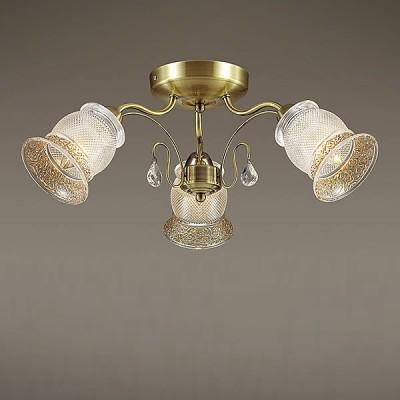 Светильник Lumion 3415/3CПотолочные<br>В серии Rakella используются эффектные стеклянные плафоны с рифлением и орнаментом, декорированным золотой покраской. Благодаря плафонам свет будет мягким и комфортным с приятным золотистым эффектом.<br><br>Установка на натяжной потолок: Да<br>S освещ. до, м2: 9<br>Крепление: Потолочное<br>Тип лампы: Накаливания / энергосбережения / светодиодная<br>Тип цоколя: E14<br>Количество ламп: 3<br>Диаметр, мм мм: 580<br>Высота, мм: 230<br>MAX мощность ламп, Вт: 60