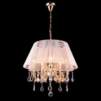 Люстра абажур Евросвет 3419/5 золото белыйПодвесные<br>Люстра классическая в виде белого абажура для интерьера стиля прованс гостинной или спальной комнаты.<br><br>Установка на натяжной потолок: Да<br>S освещ. до, м2: 20<br>Крепление: Крюк<br>Тип лампы: накаливания / энергосбережения / LED-светодиодная<br>Тип цоколя: E14<br>Количество ламп: 5<br>MAX мощность ламп, Вт: 60<br>Диаметр, мм мм: 550<br>Высота, мм: 600 - 1000<br>Цвет арматуры: золотой