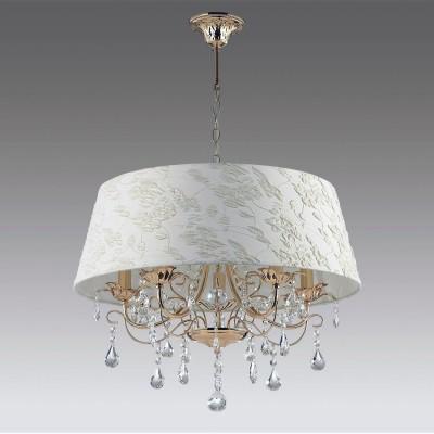 Odeon light PLESANSA 3431/5A ЛюстраПодвесные<br><br><br>Установка на натяжной потолок: Да<br>S освещ. до, м2: 10<br>Тип лампы: Накаливания / энергосбережения / светодиодная<br>Тип цоколя: E14<br>Цвет арматуры: золотой<br>Количество ламп: 5<br>Диаметр, мм мм: 600<br>Высота, мм: 915<br>MAX мощность ламп, Вт: 40