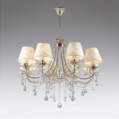 Odeon light PLESANSA 3431/8 ЛюстраПодвесные<br><br><br>Установка на натяжной потолок: Да<br>S освещ. до, м2: 16<br>Тип лампы: Накаливания / энергосбережения / светодиодная<br>Тип цоколя: E14<br>Количество ламп: 8<br>MAX мощность ламп, Вт: 40<br>Диаметр, мм мм: 780<br>Высота, мм: 1040<br>Цвет арматуры: золотой