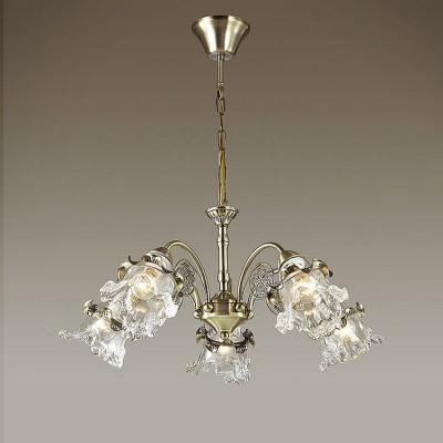 Светильник Lumion 3450/5Подвесные<br>Серия Eloisa  примечательна роскошным прозрачным стеклянным плафоном, прекрасно сочетающимся с бронзой основания. Светильник декорирован эффектным цветочным элементом.<br><br>Установка на натяжной потолок: Да<br>S освещ. до, м2: 15<br>Крепление: Потолочное<br>Тип лампы: Накаливания / энергосбережения / светодиодная<br>Тип цоколя: E14<br>Количество ламп: 5<br>Диаметр, мм мм: 620<br>Высота, мм: 1000<br>MAX мощность ламп, Вт: 60