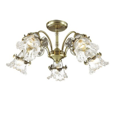 Светильник Lumion 3450/5CПотолочные<br>Серия Eloisa  примечательна роскошным прозрачным стеклянным плафоном, прекрасно сочетающимся с бронзой основания. Светильник декорирован эффектным цветочным элементом.<br><br>Установка на натяжной потолок: Да<br>S освещ. до, м2: 15<br>Крепление: Потолочное<br>Тип лампы: Накаливания / энергосбережения / светодиодная<br>Тип цоколя: E14<br>Количество ламп: 5<br>Диаметр, мм мм: 620<br>Высота, мм: 270<br>MAX мощность ламп, Вт: 60
