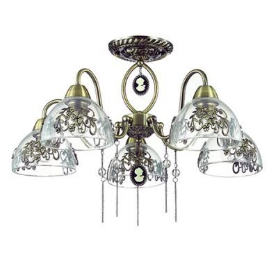 Светильник Lumion 3452/5CПотолочные<br>Элегантная и романтичная серия Absolona удивляет изящностью  подобранных декоров: прозрачные бусины, цепочки, декор на стекле, подвеска с женской фмгурой.<br><br>Установка на натяжной потолок: Да<br>S освещ. до, м2: 15<br>Крепление: Потолочное<br>Тип лампы: Накаливания / энергосбережения / светодиодная<br>Тип цоколя: E27<br>Количество ламп: 5<br>MAX мощность ламп, Вт: 60<br>Диаметр, мм мм: 610<br>Высота, мм: 390