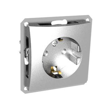 Lexel Дуэт серебро Розетка с зазамлением с защитными шторками (SE WDE000345)Серебро<br><br><br>Оттенок (цвет): серебристый