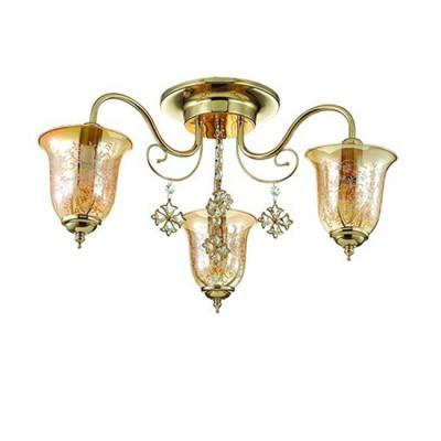 Светильник Lumion 3459/3CПотолочные<br>В серии  Leonidas используются  изящные и оригинальные   плафоны из стекла  медового цвета с растительным орнаментом. Светильник декорирован потрясающими подвесками из хрусталя в металлическом обрамлении.<br><br>Установка на натяжной потолок: Да<br>S освещ. до, м2: 6<br>Крепление: Потолочное<br>Тип лампы: Накаливания / энергосбережения / светодиодная<br>Тип цоколя: E14<br>Количество ламп: 3<br>Диаметр, мм мм: 550<br>Высота, мм: 280<br>MAX мощность ламп, Вт: 40