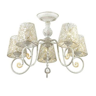 Светильник Lumion 3465/5CПотолочные<br>Легкая ажурная серия Izidora в белом цвете с золотой патиной создана быть жемчужиной интерьера.Плафоны  из металла с резным кружевом создадут потрясающие световые эффекты.<br><br>Установка на натяжной потолок: Да<br>S освещ. до, м2: 15<br>Крепление: Потолочное<br>Тип лампы: Накаливания / энергосбережения / светодиодная<br>Тип цоколя: E14<br>Количество ламп: 5<br>MAX мощность ламп, Вт: 60<br>Диаметр, мм мм: 590<br>Высота, мм: 430