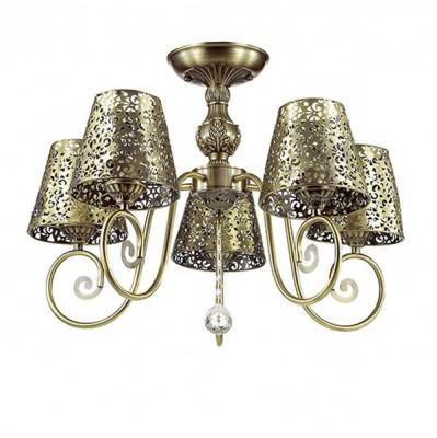 Светильник Lumion 3466/5CПотолочные<br>Легкая ажурная серия Izidora в цвете бронза создана быть жемчужиной интерьера.Плафоны  из металла с резным кружевом создадут потрясающие световые эффекты.<br><br>Установка на натяжной потолок: Да<br>S освещ. до, м2: 15<br>Крепление: Потолочное<br>Тип лампы: Накаливания / энергосбережения / светодиодная<br>Тип цоколя: E14<br>Количество ламп: 5<br>MAX мощность ламп, Вт: 60<br>Диаметр, мм мм: 590<br>Высота, мм: 430