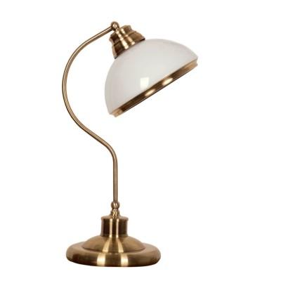 Настольная лампа Mw light 347031201 ФелицияКлассические<br>Описание модели 347031201: Светильники из коллекции «Фелиция» созданы специально для помещений в стиле античности, классики или фьюжн. Их внешний вид целиком построен на акцентах. Металлическое основание, окрашенное в цвет античной бронзы с эффектом старения, подчеркнуто более тонкими элементами. Округлые формы металла повторяются в глянцевых стеклянных плафонах. Их полусферическая форма максимально мягко рассеивает свет, а белый цвет акцентирован металлическими ободками. Округлые, смягченные черты имеют также бра и настольные лампы из этой коллекции.<br><br>S освещ. до, м2: 3<br>Тип лампы: накаливания/энергосб-ие<br>Тип цоколя: E27<br>Цвет арматуры: бронзовый<br>Количество ламп: 1<br>Ширина, мм: 200<br>Длина, мм: 260<br>Высота, мм: 440<br>Поверхность арматуры: глянцевый<br>MAX мощность ламп, Вт: 60<br>Общая мощность, Вт: 60