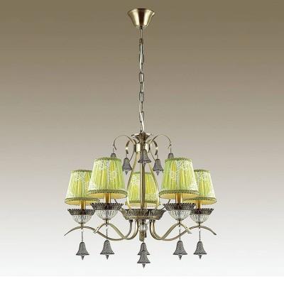 Odeon light KLIMENTA 3474/5 ЛюстраПодвесные<br><br><br>Установка на натяжной потолок: Да<br>S освещ. до, м2: 10<br>Тип лампы: Накаливания / энергосбережения / светодиодная<br>Тип цоколя: E14<br>Количество ламп: 5<br>MAX мощность ламп, Вт: 40<br>Диаметр, мм мм: 620<br>Высота, мм: 1005<br>Цвет арматуры: бронзовый