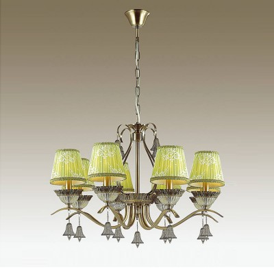 Odeon light KLIMENTA 3474/8 ЛюстраПодвесные<br><br><br>Установка на натяжной потолок: Да<br>S освещ. до, м2: 16<br>Тип лампы: Накаливания / энергосбережения / светодиодная<br>Тип цоколя: E14<br>Количество ламп: 8<br>MAX мощность ламп, Вт: 40<br>Диаметр, мм мм: 750<br>Высота, мм: 1005<br>Цвет арматуры: бронзовый