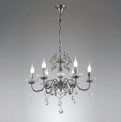 Odeon light LAMMERT 3475/6 ЛюстраПодвесные<br><br><br>Установка на натяжной потолок: Да<br>S освещ. до, м2: 12<br>Тип лампы: Накаливания / энергосбережения / светодиодная<br>Тип цоколя: E14<br>Количество ламп: 6<br>MAX мощность ламп, Вт: 40<br>Диаметр, мм мм: 630<br>Высота, мм: 965<br>Цвет арматуры: бронзовый