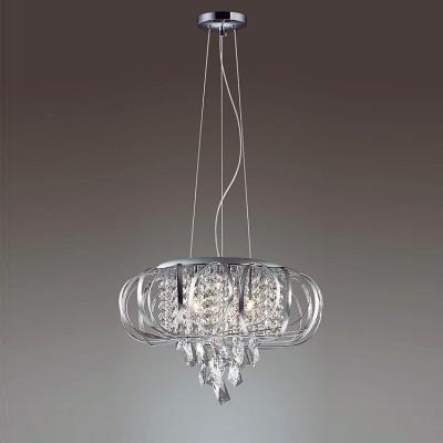 Odeon light UDESSA 3477/5 ЛюстраПодвесные<br><br><br>Установка на натяжной потолок: Да<br>S освещ. до, м2: 10<br>Тип лампы: галогенная/LED<br>Тип цоколя: G9<br>Количество ламп: 5<br>MAX мощность ламп, Вт: 40<br>Диаметр, мм мм: 430<br>Высота, мм: 1570<br>Цвет арматуры: серебристый хром