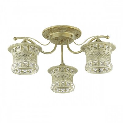 Светильник Lumion 3482/3CОжидается<br>Оригинальная серия Sammati состоит из металлической арматуры белого цвета с золотой патиной. Металлический плафон выполнен в восточном стиле и украшен хрусталем, свет от такого плафона в темноте отражает красивые узоры на стенах<br><br>Тип цоколя: E27<br>Количество ламп: 3<br>Ширина, мм: 535<br>MAX мощность ламп, Вт: 60<br>Длина, мм: 535<br>Оттенок (цвет): белый / золот.патина