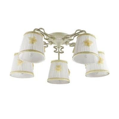 Светильник Lumion 3485/5CОжидается<br>Очень романтичная серия Vapus состоит из арматуры белого цвета с золотой патиной. Нежный тканевый абажур светильника украшен миниатюрными цветочками с жемчужным бисером. Такой светильник создаст атмосферу легкости и романтики в интерьере<br><br>Тип цоколя: E14<br>Количество ламп: 5<br>MAX мощность ламп, Вт: 40<br>Оттенок (цвет): белый / золот.патина