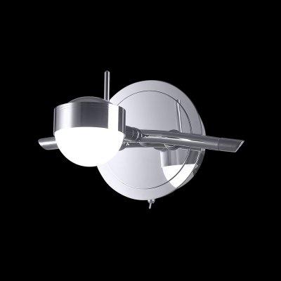 Светильник Idlamp 348/1A ChromeБра хай тек стиля<br><br><br>S освещ. до, м2: 1<br>Крепление: Настенные<br>Тип цоколя: LED<br>Цвет арматуры: серебристый<br>Количество ламп: 1<br>Ширина, мм: 160<br>Расстояние от стены, мм: 120-180<br>Высота, мм: 130<br>Оттенок (цвет): белый<br>MAX мощность ламп, Вт: 5