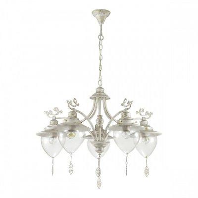 Светильник Lumion 3495/5Ожидается<br>Серия Prana в белом цвете с золотой патиной в сочетании с прозрачными плафонами смотрится изящно и невесомо. Декоративные ажурные подвески, украшающие плафон, гармонично сочетаются с декоративными металлическими элементами на рожках<br><br>Тип цоколя: E27<br>Количество ламп: 5<br>Ширина, мм: 640<br>MAX мощность ламп, Вт: 60<br>Длина цепи/провода, мм: 440<br>Длина, мм: 640<br>Высота, мм: 575<br>Оттенок (цвет): белый / зол.патина