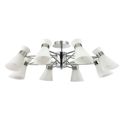 Светильник Lumion 3498/8Ожидается<br>Современная серия Laconica сочетает в себе современный дизайн и лаконичный стиль. Такая люстра вполне подойдет как в гостиную в стиле модерн, так и в яркую детскую комнату<br><br>Тип цоколя: E14<br>Количество ламп: 8<br>Ширина, мм: 810<br>MAX мощность ламп, Вт: 40<br>Длина, мм: 810<br>Оттенок (цвет): серебристный хром