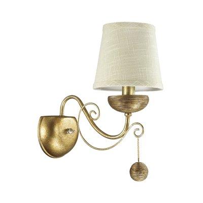Светильник Lumion 3502/1Wклассические бра<br>Серебристый цвет основания светильника с золотой патиной и с оригинальной отделкой под камень, абажуры из натуральной ткани, делают эту серию необычной и навевают атмосферу античности