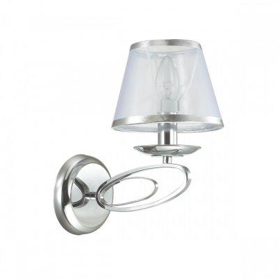 Светильник Lumion 3503/1WОжидается<br>Серия Nubbiana смотрится очень изящно, элегантно и легко. Металлическое основание светильника выполнено в виде вытянутых колец и украшено легкими, прозрачными абажурами, создающими эффект невесомости<br><br>Тип цоколя: E14<br>Количество ламп: 1<br>Ширина, мм: 160<br>MAX мощность ламп, Вт: 40<br>Длина, мм: 245<br>Расстояние от стены, мм: 25<br>Оттенок (цвет): серебристный хром
