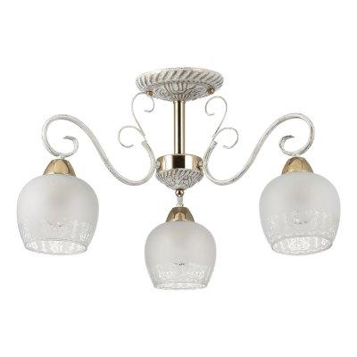 Люстра потолочная Lumion 3505/3C BIANCOPAПотолочные<br>Романтичная серия Biancopa поражает своей красотой и изяществом. Арматура светильника покрыта белым цветом с золотой патиной. Светильник обильно украшен металлическим декором, а также белоснежными плафонами с эффектом зимнего узора на стекле<br><br>S освещ. до, м2: 9<br>Тип лампы: Накаливания / энергосбережения / светодиодная<br>Тип цоколя: E27<br>Количество ламп: 3<br>MAX мощность ламп, Вт: 60<br>Диаметр, мм мм: 560<br>Высота, мм: 318<br>Оттенок (цвет): белый / зол.патина / золото