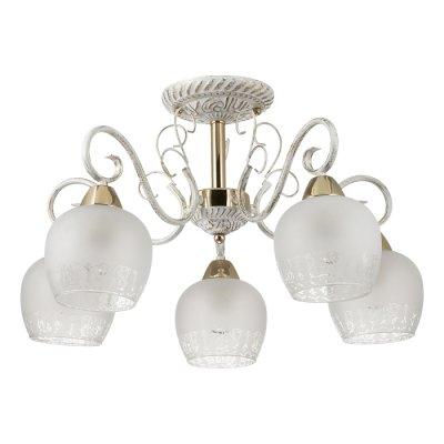 Люстра потолочная Lumion 3505/5C BIANCOPAПотолочные<br>Романтичная серия Biancopa поражает своей красотой и изяществом. Арматура светильника покрыта белым цветом с золотой патиной. Светильник обильно украшен металлическим декором, а также белоснежными плафонами с эффектом зимнего узора на стекле<br><br>S освещ. до, м2: 15<br>Тип лампы: Накаливания / энергосбережения / светодиодная<br>Тип цоколя: E27<br>Количество ламп: 5<br>Диаметр, мм мм: 560<br>Высота, мм: 380<br>Оттенок (цвет): белый / зол.патина / золото<br>MAX мощность ламп, Вт: 60