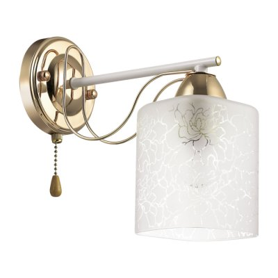 Бра Lumion 3508/1W OPICUSклассические бра<br>Серия Opicus будет смотреться мило и свежо в интерьерах в нежных пастельных оттенках. Серию украшают белая арматура с золотой патиной, тонкие золотые элементы, изящно обвивающие основание светильника, а также плафоны из белоснежного матового стекла с нежным узором<br><br>Тип лампы: Накаливания / энергосбережения / светодиодная<br>Тип цоколя: E27<br>Количество ламп: 1<br>Ширина, мм: 105<br>Расстояние от стены, мм: 242<br>Высота, мм: 215<br>Оттенок (цвет): белый / зол.патина<br>MAX мощность ламп, Вт: 60