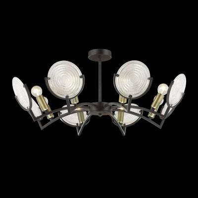 Светильник Lumion 3510/8Cпотолочные люстры лофт<br>Уникальная серия Lunapiena сочетает невероятно стильную арматуру состаренного черного цвета со смелым дизайном и необычные стеклянные плафоны в виде рельефных дисков. Такой светильник способен погрузить в атмосферу прошлого века, наполненной стилем, лоском и экстравагантностью<br><br>Крепление: Планка<br>Тип лампы: Накаливания / энергосбережения / светодиодная<br>Тип цоколя: E14<br>Цвет арматуры: черный<br>Количество ламп: 8<br>Диаметр, мм мм: 752<br>Высота, мм: 300<br>Поверхность арматуры: матовая<br>Оттенок (цвет): металл черный с эффектом состаривания<br>MAX мощность ламп, Вт: 60<br>Общая мощность, Вт: 480